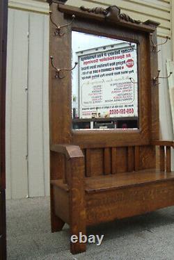 61153 Antique Victorian Tiger Oak Mission Hallseat Hat Rack