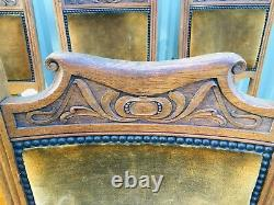 6 Set Antique Solid Tiger Carved Oak Dining Chairs Ornate Upholstered Victorian