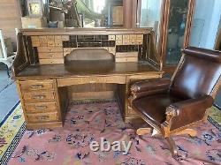 #7981 76 19th C. American Tiger Oak Rowlett Desk Co Roll Top Banker's Desk