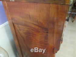 ANTIQUE 1840's Tiger Maple, Serpentine Claw Foot Highboy Dresser Empire