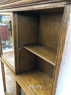 ANTIQUE DANNER TIGER OAK 2-STACK BARRISTER BOOKCASE WithSLIDING WAVY GLASS DOORS