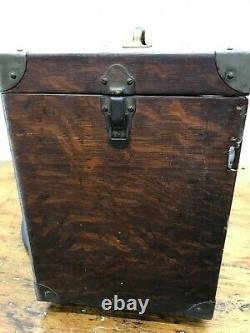 ANTIQUE Machinist Tool Box Felt Lined Tiger Oak Tool Chest Read Description