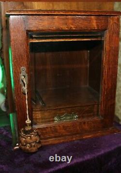 ANTIQUE TIGER OAK PIPE TOBACCO CABINET w BRASS HARDWARE & BEVELED GLASS