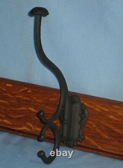 ANTIQUE TIGER OAK WALL HUNG HAT/COAT/CAP RACK with4 LARGE HOOKS CA 1900 44 1/4L