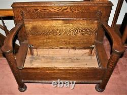 ANTIQUE VICTORIAN 1890's QUARTER SAWN TIGER OAK Hall Bench Seat
