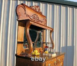 ANTIQUE Victorian TIGER OAK BAR Sideboard Buffet c1900 Stunning piece