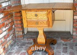 ANTIQUE c 1900 AMERICAN TIGER OAK SEWING TABLE w WINGS STRONG EXCELLENT COND