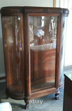 American Antique Tiger Oak Lion Feet Display Cabinet