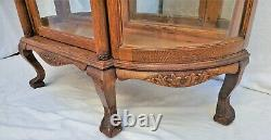 American Large Tiger Oak Bowed Bent Glass China Cabinet Curio Claw Feet 1890s