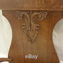 American Quartersawn Tiger CARVED OAK HALL TREE Seat Bench / Mirror 1900's