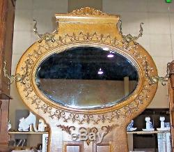 American Quartersawn Tiger CARVED OAK HALL TREE Seat Bench with Oval Mirror 1900's