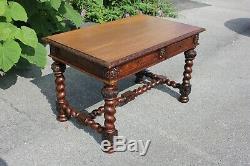 American Victorian Barley Twist Tiger Oak Center Table Partner Desk 19th C