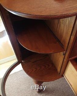 Americana Larkin Tiger Oak Server Buffet Sideboard Curved Glass & Oval Mirror