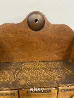 Antique 1800s Tiger Oak, Tiger Maple Spice Cabinet With Porcelain Pulls