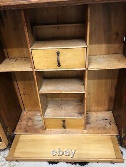 Antique 1800s Victorian Tiger Oak Wall/ Medicine Cabinet