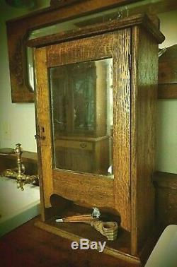 Antique 1880's Tiger Oak Medicine Cabinet- Beveled Mirror- Shelf- Cubbies