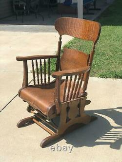 Antique 1880's Tiger Oak Victorian Glider Platform Rocking Chair