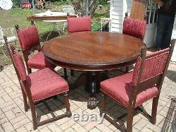 Antique 1890's Tiger Oak Hastings 54 Round Table & Chairs Paw Feet horner style