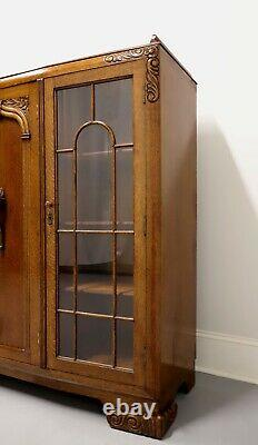 Antique 1920s English Art Deco Quartersawn Tiger Oak Curio / Bookcase Cabinet