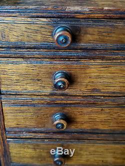 Antique 19th Century SALESMAN'S SAMPLE / Miniature 5-Drawer Tiger Oak Chest