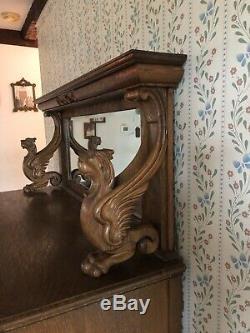 Antique 20th Century Victorian Tiger Oak Lion Sideboard Buffet Beveled Mirror