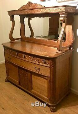 Antique 20th Century Victorian Tiger Oak Sideboard Buffet FLAWLESS CONDITION