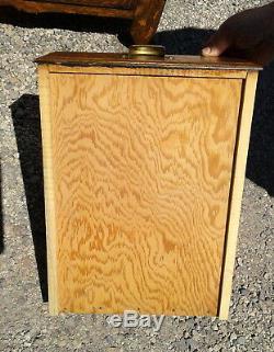 Antique 2 Piece Step Back Flat Wall Cupboard Tiger Oak 1950s Era Vintage