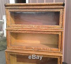 Antique 3 Stack Barrister Bookcase Tiger Oak Step Back Bull Nose 1900s Era