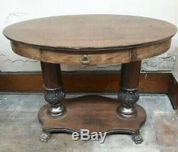 Antique 41 Tiger Oak Claw Foot Oval Parlor Lamp Library Table from W & H Walker