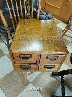 Antique 4 Drawer Card Catalog Library Tiger Oak File Copper slides inside