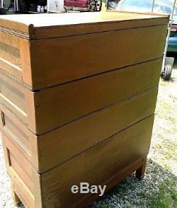 Antique 4 Stack YAWMAN AND ERBE Tiger Oak File Cabinet 1910 Era