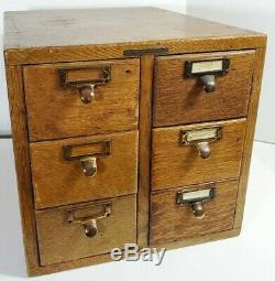 Antique 6 Drawer LIBRARY BUREAU SOLEMAKERS File Box Library Card Catalog Cabinet
