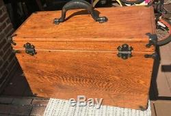 Antique 7 Drawer Machinist Tool Box Tiger Oak George Scherr Co. N. Y
