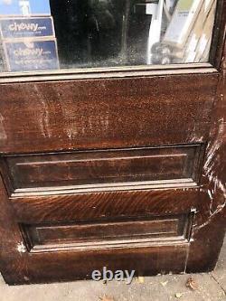 Antique 85.25 Tiger Oak Orig Single Glass Pane Wood Entrance Door Black Stunning