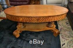 Antique American Empire Solid Oak Tiger Striped Coffee Table