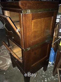 Antique American Globe Wernicke 2 Stacking Hinge Oak File Cabinet C1900