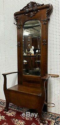 Antique American Quarter Sawn Tiger Oak Hall Tree / Seat Beveled Mirror C1890