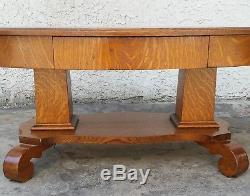 Antique American Tiger OAK SOLID TOP Oval COFFEE TABLE 1890's 1900's LA Area