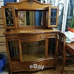 Antique American Tiger Oak Carved 2 Piece Mirrored Sideboard Buffet
