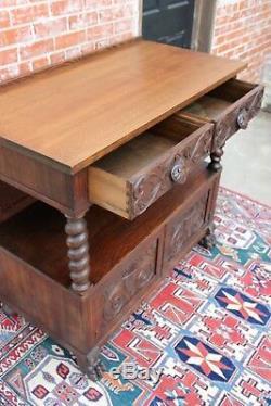 Antique American Tiger Oak Renaissance Sideboard / Server Cabinet