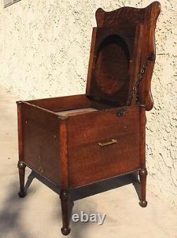 Antique American Tiger oak chamber potty chair w lifting tops 17x17x17 clean++