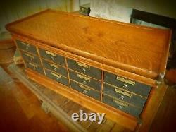 Antique And Unique 12 Drawer Letter File- Leather Drawers- Tiger Oak