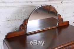 Antique Art Deco Tiger Oak Sideboard Buffet