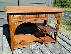 Antique Art Nouveau Tiger Oak Desk, Coffee or Lamp Table 1920 Era