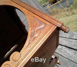 Antique Art Nouveau Tiger Oak Lamp Table or Coffee Table 1920 Era