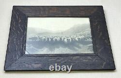 Antique Arts & Crafts Mission Quartersawn Tiger Oak Picture Frame 17.5 x 14.5