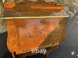 Antique Arts&Crafts Mission Style Tiger Oak Slant Drop Front Secretary Desk wKey