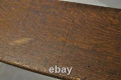 Antique Arts & Crafts Mission Tiger Oak 52 Long Work Bench with Storage Cubby
