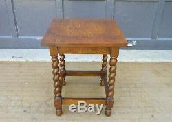 Antique Arts & Crafts Tiger Oak Barley Twist Legs Taboret Table plant stand