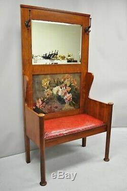 Antique Arts & Crafts Tiger Oak Mission Hall Coat Rack Tree Mirror Bench Seat